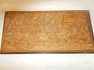 A Unique Wooden Hand Craftdn Scene Of an Asian Forest Scene -VERY RARE