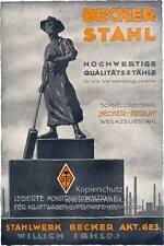 Becker Stahl Schnelldrehstahl Iridium Werkzeugstahl Plakat  Motor A2 190