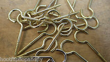 "25 x 2"" 50mm LONG SMALL BRASS PLATED SCREW CUP HOOKS NO SHOULDER M HOOK"