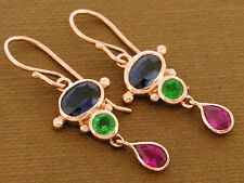 E080 -Genuine Solid 9ct Rose Gold Natural Sapphire Ruby Emerald Drop Earrings