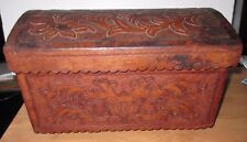 Large Peruvian Leather and Wood Jewelry Chest 15.25 x 9.7 x 9.7  Handcrafted