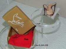 Christian Louboutin Barbie 2010 Cream & Brown Open Toed Slides~Box & Bag