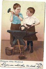 BRAWN & MUSCLE Boys Blacksmith Comic Drawing Postcard Raphael TUCK & Sons 1907