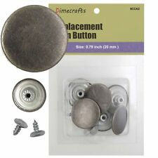 25 mm No-Sew Replacement Jean Tack Buttons (8CCA2)  6 CT. Color Pewter