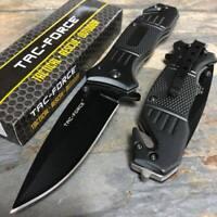 Tac Force Spring Assisted Black Blade Tactical Camping Survival Pocket Knife