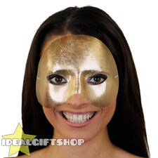 GOLD TOP HALF FACE PHANTOM MASK VENETIAN MASQUERADE PARTY DRAMA SCHOOL THEATRE