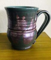 Handmade Studio Pottery Signed Stoneware Coffee Mug Cup Dark Green w/ Bronze NEW
