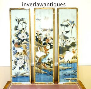 3 Reverse Paintings on Glass Qing Dynasty 19th Century