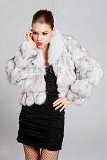 LUXURY BRAND NEW BNWT REAL FOX FUR LEATHER COAT JACKET white silver blue multi