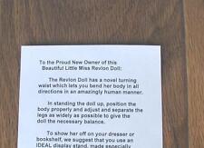 1950's LITTLE MISS REVLON Ideal doll Letter (Reproduction)
