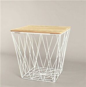 Wooden Top White Metal Wire Square Storage Basket End Side Table Home Furniture
