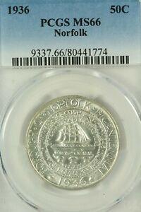 1936 Norfolk Commemorative Half Dollar : PCGS MS66