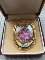 Vintage Limoges Courting Couple Porcelain Brooch Signed Trombone catch
