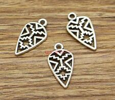 30pcs Tribal Charms Double Sided Shield Charm Antique Silver Tone 13x25 2828