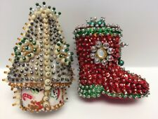 Vintage Heavily Beaded Sequins Christmas Tree Boot Ornaments