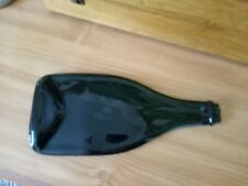Flattened Wine Bottle, Wall Decor/Serving Piece, Stretched Melted Green Glass