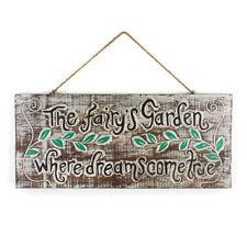 Wooden Fairy Garden Wall Plaque- Vintage Rustic Yard Sign- Dreams Come True