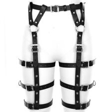 Leather  3 Circles Leg Garter Belt Crop Body Cage Bondage Wear for WOMEN
