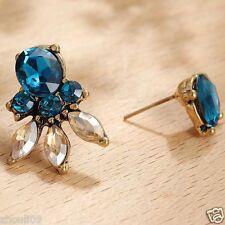 Wholesale 1pair Woman's Blue Crystal Rhinestone Long Ear Stud Hoop earrings 106