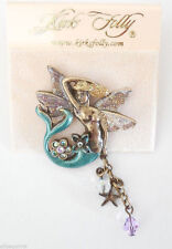 NEW KIRKS FOLLY QUEEN OF THE SEA FOLLYDUSTED MERMAID PIN  BRASSTONE