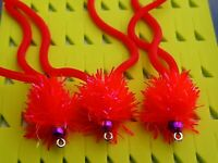 New X 3 Squirmy Worms 🌈 Bead uv Spiced Flo Red Trout Flies Lures & Flies.