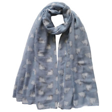 More details for maltese dog print scarf ladies lovely gift grey & blue free postage