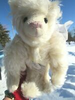 "VINTAGE WHITE SCHULTE LONG MOHAIR TEDDY BEAR THREADS LILLY 14"" ARTIST LIVINGSTON"