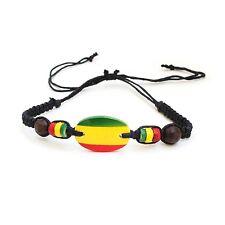 Rasta Emblem Colors Leather Wood Bead Wrist Bracelet Hippie Reggae Marley RGY