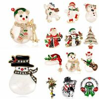 Fashion Christmas Tree Snowman Crystal Brooch Pin Xmas Party Costume Jewelry New