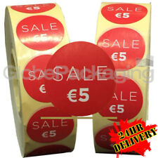 2000 x 'SALE €5' EURO Retail Self Adhesive Shop Price Labels Stickers 35mm