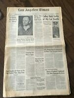 1971 LA Times Newspaper CHARLES MANSON GUILTY sentenced to death sharon tate
