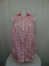 Charter Club Plus Size Tailored Fit Button Down Floral Print Top 24W Pink #3732
