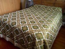 Vintage Olive Green Brocade Retro Queen Bedspread 240 x 260cm
