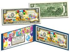 HAPPY BIRTHDAY Keepsake Gift Colorized $2 Bill US Legal Tender with Folio & COA