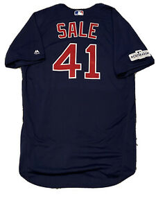 MLB Authenticated - Chris Sale 2017 Postseason Blue Jersey Issued By Red Sox