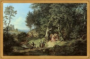 Der Brautzug im Frühling Ludwig Richter Hochzeit Kinder Natur Fest LW H A1 0232