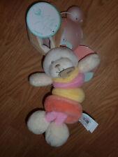 Doudou Peluche Baby'nat hochet lapin rabbit bunny lièvre Bubble Gum vibrato