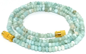 3-4MM Natural Larimar Faceted Beads Beaded Necklace Strand Jewelry