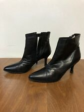 Poppies Women's Ankle Black Leather Boots-Sz 9M Zipper -FREE SHIPPING