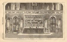 The Reredos & Alter Table, Westminster Abbey, Vintage 1867 English Antique Print