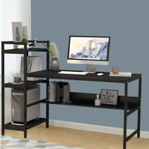 Large Gaming Desk Computer Table Metal Frame w/ 4 Tiers Bookcase Storage Shelves