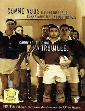 PUBLICITE ADVERTISING 126  1999  eau toilette Brut de Fabergé  équipe de Rugby