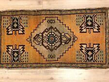 Traditional Turkish Handmade Rug, Vintage Orange Decorative Small Rug, 257