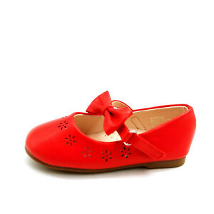 Zula Girls Mary Jane Shoes Perforated Upper Accent Bow Hook Loop Red 7 New