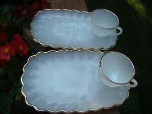 Vintage 4 Pc Fire King Snack Luncheon Set Milk Glass Plate & Cup Gold Trim