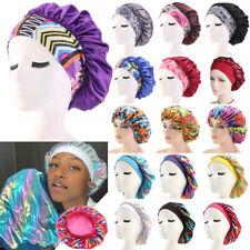 Women Satin Night Sleep Cap Hair Bonnet Hat Silk Head Cover Wide Elastic Band H