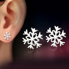 Women Fashion Sterling Silver Plated Snowflake Stud Earrings Xmas Jewelry Gift