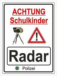 Hinweisschild Radarkontrolle Schule Aluverbundplatte 3mm - 30x40cm RA5