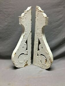 Pair Wood Gingerbread Corbels White Shabby Porch Brackets Chic Vintage 811-21B
