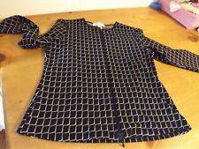 PETITE SOPHISTICATE STRETCH SWEATER  jacket ZIPS SZ MEDIUM BLACK & WHITE